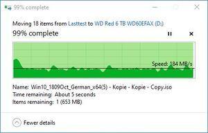 SMR/CMR Artikel WD Red 6 TB WD60EFAX beim Schreiben. Teil 3. ... und liegt somit bei ca. 170 MB/s bis 180 MB/s im Durchschnitt.