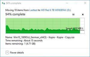 SMR/CMR Artikel WD Red 6 TB WD60EFAX beim Schreiben. Teil 2 ... bis runter auf 138 MB/s ...