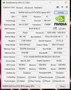 GPUz und CPUz des Razer Blade 15 Basismodell 2021