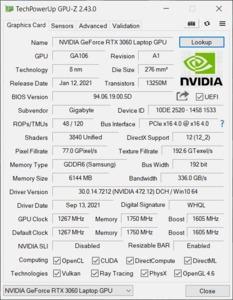 GPUz und CPUz des Gigabyte AORUS 15P KD