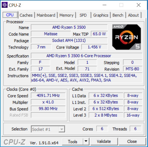 CPUz-Screen zum AMD Ryzen 5 3500