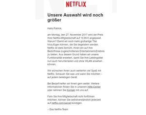 Per Email informiert Netflix seine Bestandskunden über die Preiserhöhung