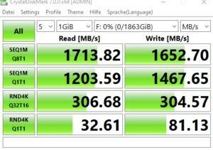 Die USB-3.2-Gen2x2-Performance über den ASMedia ASM3241.