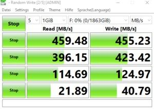 Die USB-3.2-Gen1-Performance über den Realtek-RTS5411E-Hub.