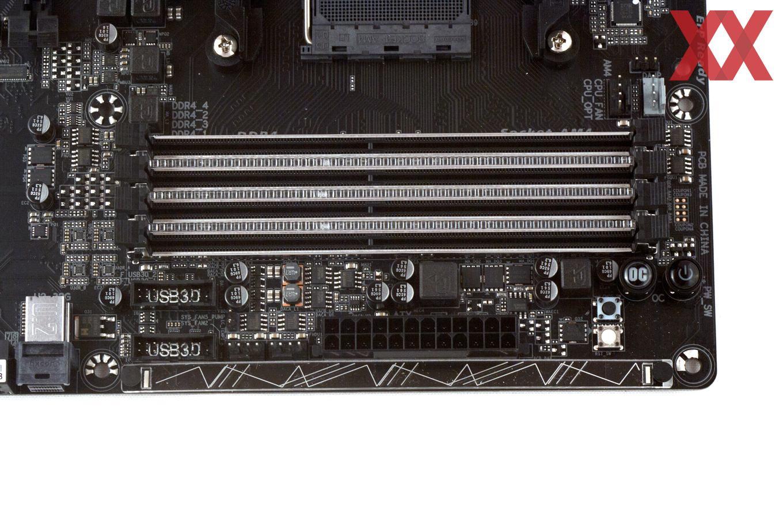 Neben vier DDR4-DIMM-Speicherbänken ist auch etwas Onboard-Komfort dabei.