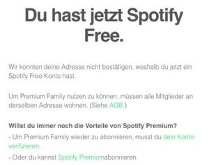 Spotify Family Falsche Adresse Angeben