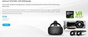 HTC Vive im Bundle mit GeForce GTX 1070