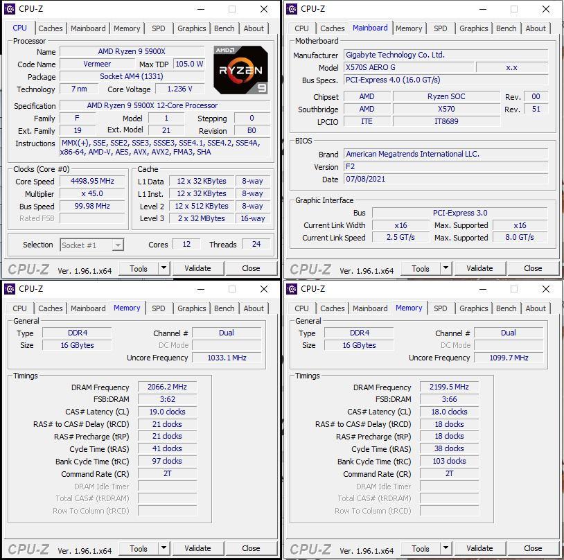 oben links: CPU-OC; unten links: RAM-OC (XMP); unten rechts: manuelles RAM-OC