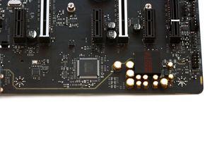 Der Onboard-Sound-Bereich auf dem MSI X470 Gaming M7 AC.