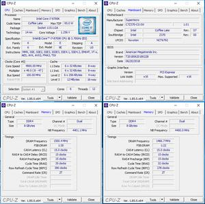oben links: CPU-OC; unten links: RAM-OC mit XMP, unten rechts: manuelles RAM-OC