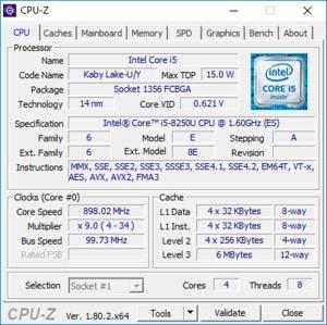 Intels Core i5-8250U bietet vier CPU-Kerne und einen maximalen Takt von 3,4 GHz
