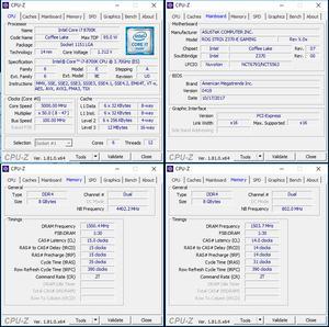 oben links: CPU-Overclocking; unten links: RAM-OC mit XMP; unten rechts: manuelles RAM-OC