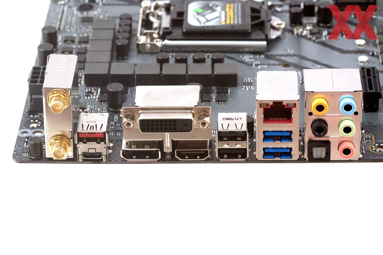Das I/O-Panel beim ASUS ROG Strix Z370-E Gaming.