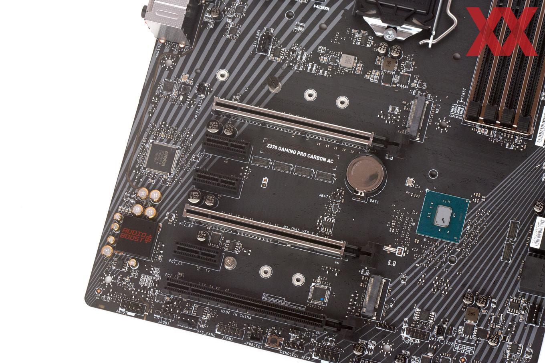 Die Erweiterungssteckplätze beim MSI Z370 Gaming Pro Carbon (AC).