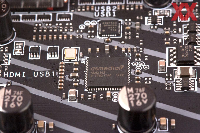 Der ASM3142 steuert die beiden USB-3.1-Gen2.Schnittstellen am I/O-Panel an.