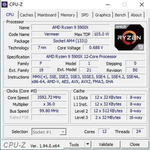 CPUz des AMD Ryzen 9 5900X und Ryzen 5 5600X