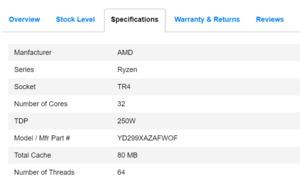 AMD Ryzen Threadripper 2990X in Kanada gelistet