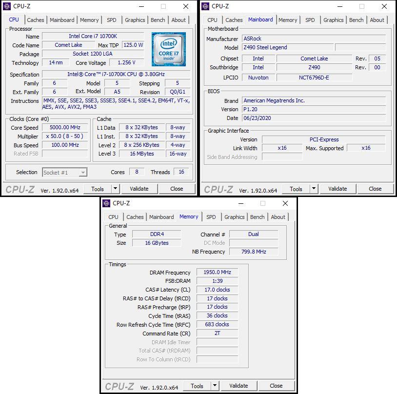 oben links: CPU-OC; unten: manuelles RAM-OC