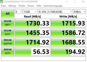 Die M.2-Performance über den B550-Chipsatz mit PCIe 3.0 x2.