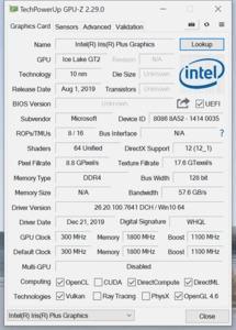 CPUz und GPUz Microsoft Surface Laptop 3