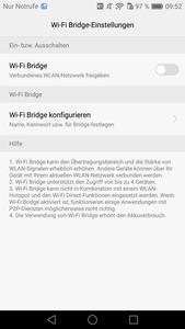 Dank integrierter Wi-Fi Bridge kann das Honor 6X ein vorhandenes WLAN weiter verteilen