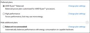 AMD RYZEN ausbalancierte Energiesparoptionen in Windows 10.
