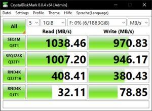 Die USB-3.2-Gen1-Performance mit Gen2-Werten über den Ryzen 9 5900X