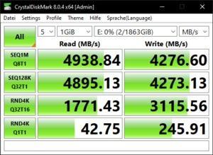 Die M.2-Performance über den Ryzen 9 5900X mit PCIe 4.0 x4