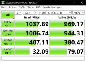Die USB-3.2-Gen2-Performance über den Ryzen 9 5900X