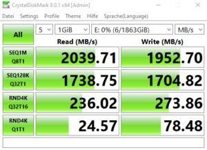 Die USB-3.2-Gen2x2-Performance über den Z590-Chipsatz