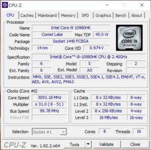 GPUz und CPUz des ASUS ROG Zephyrus Duo 15 GX550L