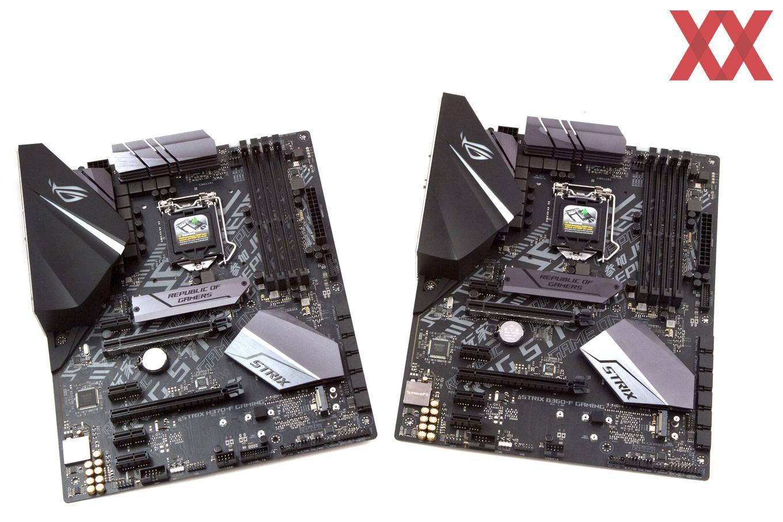 Das ASUS Strix H370-F und B360-F Gaming auf einem Bild.