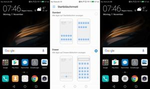 Links ohne, rechts mit App Drawaer: In EMUI 5.0 bietet Huawei die Wahl