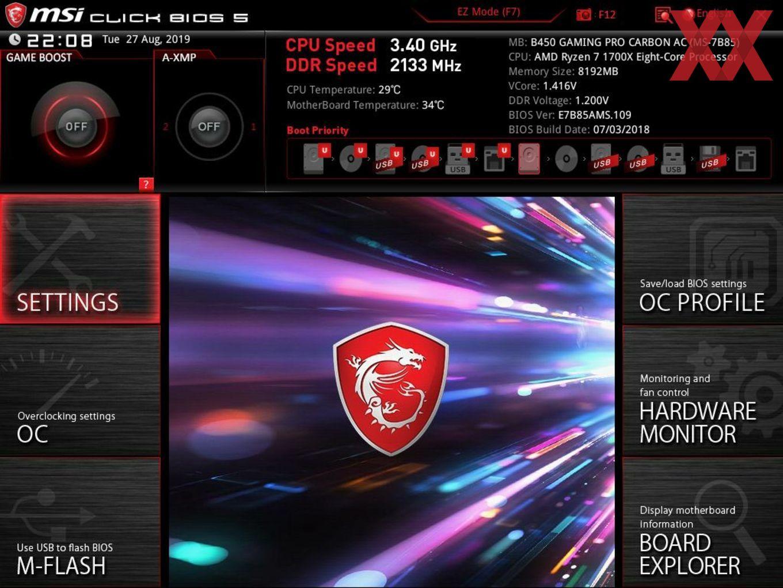 Die UEFI-Advanced-Ansicht beim MSI B450 Gaming Pro Carbon AC