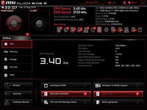 Die UEFI-EZ-Ansicht beim MSI B450 Gaming Pro Carbon AC