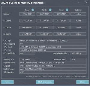 Intel Core i5-11400F - DDR3-3200 1:1