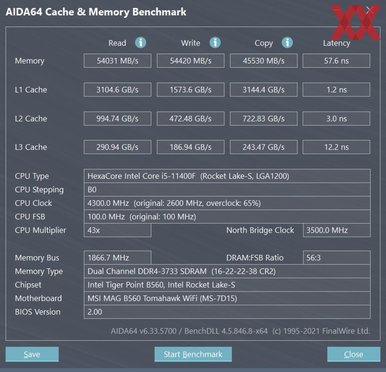 Intel Core i5-11400F - DDR4-3733 1:1