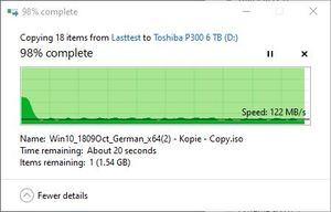 SMR/CMR Artikel Toshiba P300 6 TB beim Schreiben. Auch hier sind SMR-Schwankungen erkennbar. Teil 2. Bis zum Schluss pendelt die Transferrate zwischen 122 MB/s und 173 MB/s.