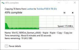 SMR/CMR Artikel Toshiba P300 6 TB beim Schreiben. Auch hier sind SMR-Schwankungen erkennbar. Teil 1