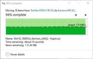 SMR/CMR Artikel Toshiba P300 6 TB beim Lesen stellt SMR auch hier kein Problem dar.