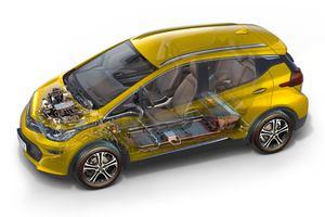 Die Akkus des Opel Ampera-e sitzen im Boden, der Motor ist an der Vorderachse untergebracht