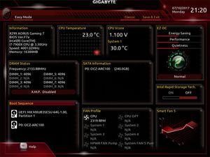 Die UEFI-EZ-Oberfläche beim Gigabyte X299 AORUS Gaming 7.