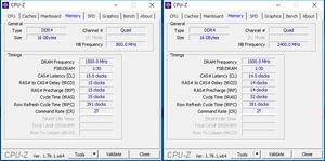 RAM-Overclocking: links mit XMP; rechts ohne XMP
