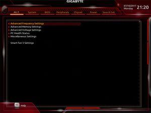 Die UEFI-Advanced-Oberfläche beim Gigabyte X299 AORUS Gaming 7.