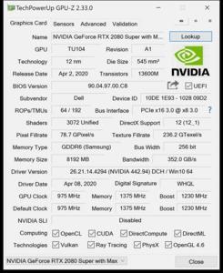 GPUz und CPUz des Alienware M15 R3