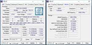 Links: Overclocking-Ergebnis mit 4,5 GHz bei 1,295 Volt laut BIOS; rechts: Das manuelle RAM-Overclocking-Ergebnis.
