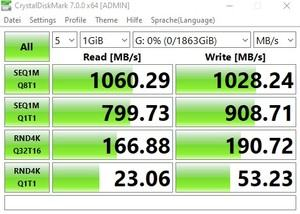 Die USB-3.2-Gen2-Performance (10 GBit/s) beim MSI MEG Z490I UNIFY über den Intel-JHL7540-Thunderbolt-Controller.