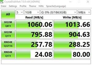 Die USB-3.2-Gen2-Performance (10 GBit/s) beim MSI MEG Z490I UNIFY über den Z490-Chipsatz.