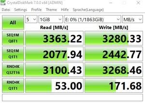 Die M.2-Performance beim MSI MEG Z490 UNIFY über den Z490-Chipsatz mit PCIe 3.0 x4.