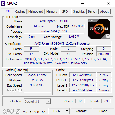 CPUz zum AMD Ryzen 9 3900XT